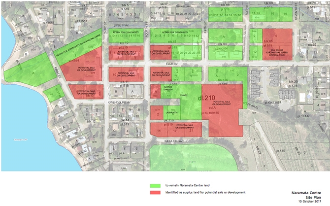 Naramata Centre board of directors have determined the properties shaded in red as potentially available for sale.