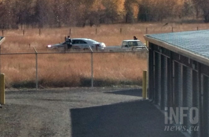 Kamloops RCMP responding to a shooting at the G & M Trailer Park.