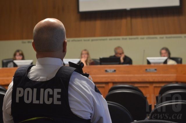 Vernon RCMP Insp. Gord Stewart pictured at a Nov. 14, 2017 meeting before Vernon City Council.