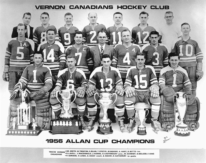 The 1956 Allan Cup champion Vernon Canadians will be honoured in a banner raising ceremony Friday night, Dec. 1, 2017 during a pre-game ceremony at Kal Tire Place where the Vernon Vipers take on the Trail Smoke Eaters.