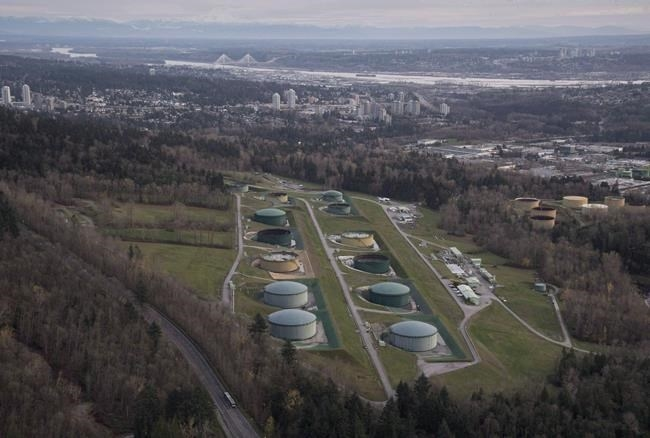 FILE PHOTO - Kinder Morgan Trans Mountain Expansion Project's oil storage tank farm is seen in Burnaby, B.C., on Friday, Nov. 25, 2016.