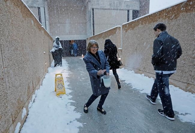 St. Richard Catholic Church liturgy director Suzan Cox salts down the walkway leading to the church as snow falls before morning services, Friday, Dec. 8, 2017, in Jackson, Miss.
