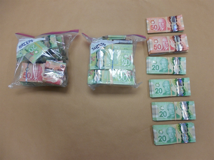 Cash seized by RCMP during a vehicle stop on Dec. 1, 2016.