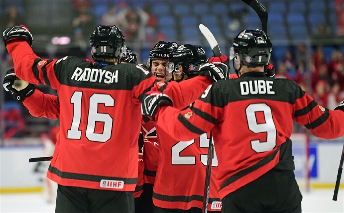 Kelowna Rockets assistant captain and Team Canada captain, Dillon Dube, opened the scoring 1:49 into the second period for his third goal of the tournament.