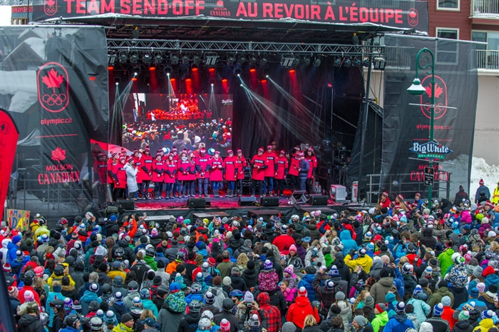 Over 6,000 people gathered at Big White Ski Resort near Kelowna, Saturday, Jan. 6, 2018 to give some of Canada's Winter Olympic athletes a send-off.
