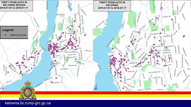 Kelowna Region crime maps which show the location of reported theft from auto incidents across the Central Okanagan. (Left Map) shows both Kelowna and West Kelowna. (Right Map) shows Kelowna.