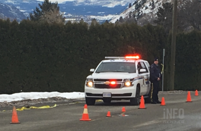 A police officer is protecting the site of a possible explosive device in Kamloops today, Jan. 30.