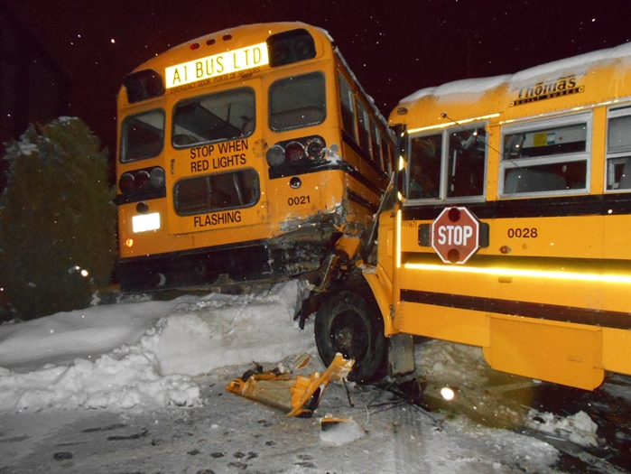 Photos show the extensive damage two school buses sustained after two Kelowna teens allegedly took the vehicles for a ride.