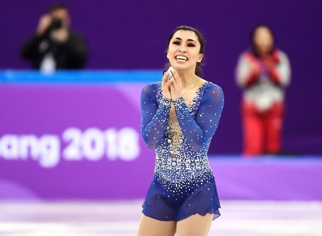 Gabrielle Daleman of Canada reacts following the women's free program in the team figure skating event at the Pyeonchang Winter Olympics Monday, February 12, 2018 in Gangneung, South Korea.