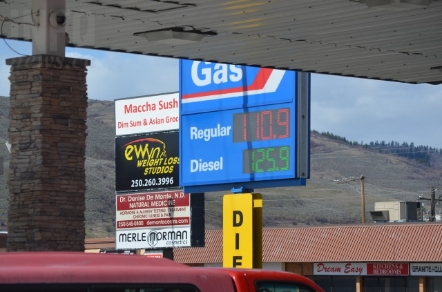 Gas at 110.9 cents/litre in Vernon April 4, 2018.