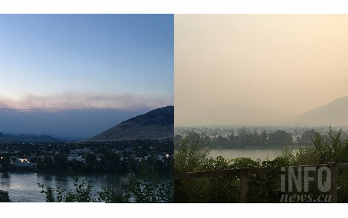 This photo overlooking the Thompson River shows how much smoke moved into Kamloops in a period of 12 hours. The image on the the left was taken on July 9, 2017 at 9:25 p.m. and the image on the right was taken on July 10 at 8:25 a.m.