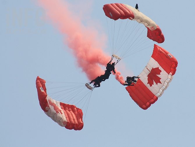 Skydivers in formation during a performance by the Canadian Forces Skyhawks in Penticton this afternoon, Aug. 8, 2018.