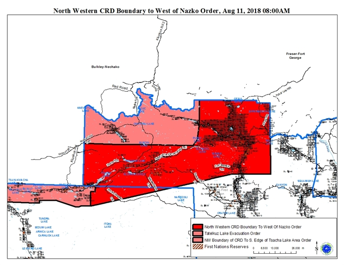 A map of the extended evacuation order.