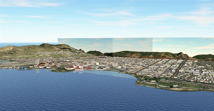 An engineer's rendering of the current Kelowna skyline.