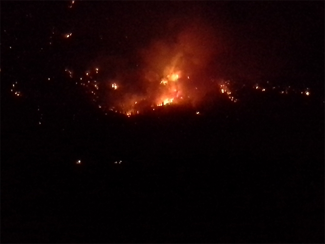 The Snowy Mountain fire was highly visible to Keremeos residents last night.