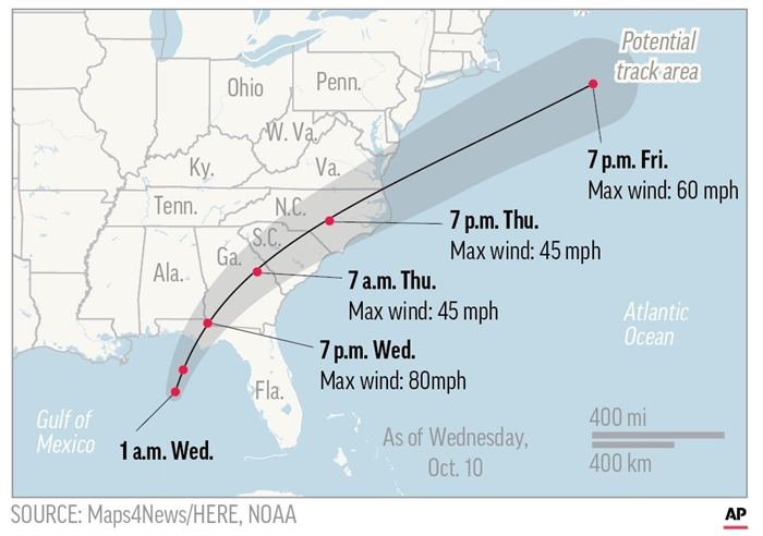 Map shows of probable hurricane Michael.