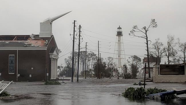 The First Baptist Church of Port St Joe, Fla., was significantly damaged and water remains on the street near the church on Wednesday, Oct. 10, 2018, after Hurricane Michael made landfall in the Florida Panhandle.