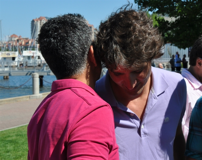 Colin Basran and Justin Trudeau in Kelowna July 23, 2013.