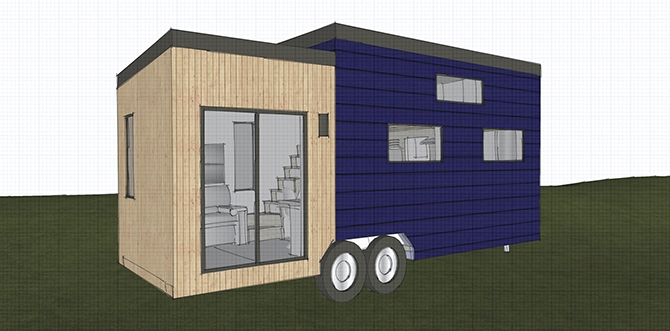 A sketch of Sitka Concept's single bedroom, 192 square foot portable tiny house created for young couples and  known as