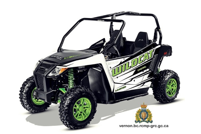 Police are looking for a 2017 Arctic Cat Wildcat Trail Limited, similar to the one in this photo submitted by RCMP, stolen from a property on Westside Road near Vernon.