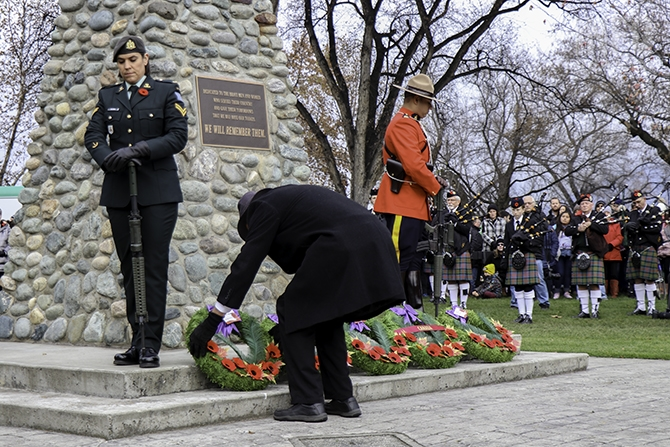 Organizations and individuals laid wreaths on the Cenotaph to commemorate Veterans. Many would pause for a moment afterwards to offer a salute or a prayer.