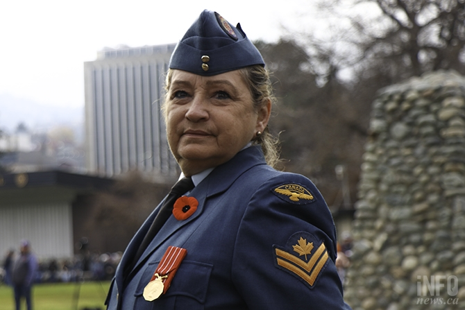 From 1984-2013 Dianne Francis served in the Royal Canadian Airforce retiring at age 60. Today she comes to the service in uniform to represent her element.