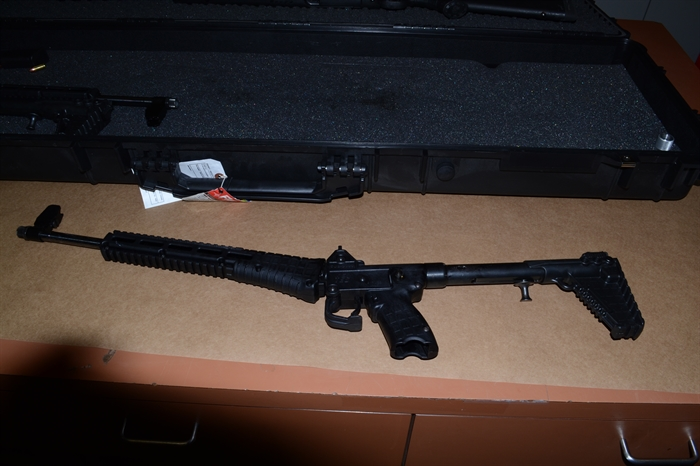 Some of the weapons seized by Kamloops RCMP during the search of a home on Badger Drive in Dallas in January 2018.
