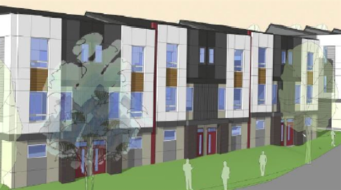 This drawing of a proposed row house development was rejected by Kelowna city council.