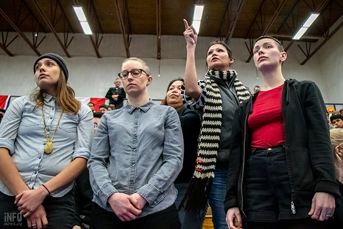 A woman who identified herself as Tilly (second from right) asks Prime Minister Justin Trudeau a question regarding the oppression and suffering of Indigenous people at a town hall meeting in Kamloops on Wednesday, Jan. 9, 2019.