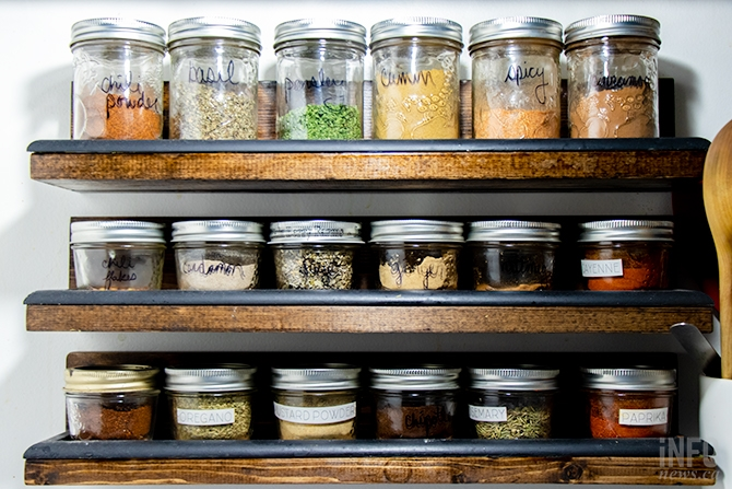 Spices stored in reusable Mason jars at Feller and Birmingham's home in Kamloops.