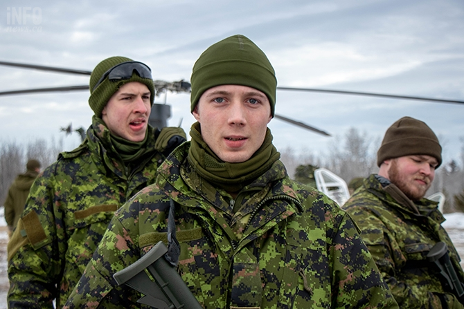 Some of the participants include Pte. Jordan Brears (centre), 23, a carpenter from Quesnel, B.C. and Pte. James Armstrong Cormier (left), 22, a Kinesiology student from Prince George.