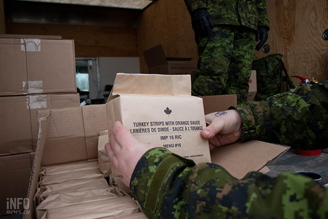 Military personnel get rations, which are non-perishable and contain something approaching 2000 calories. They include a meal, bread, desert, a snack bar of some sort, a couple of drink mixes and a mint.