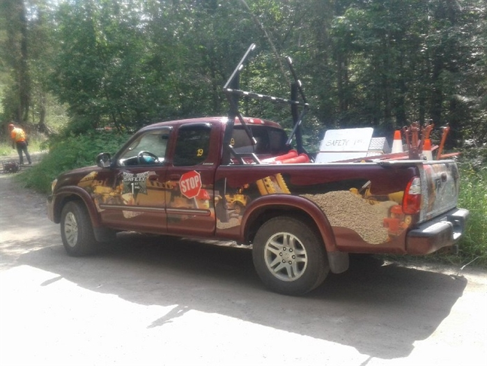 RCMP are hoping someone has seen a missing Armstrong man's truck. Brian Kyme Franklin is believed to be in possession of this red 2005 Toyota Tundra with graphics of LEGO builders and construction equipment with B.C. licence plate MC 2169.