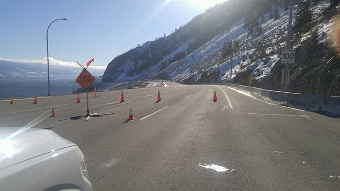 Highway 97 north of Summerland remains closed until further notice. Pictured in this submitted photo is what you'll see looking south at the northern end of the highway closure.