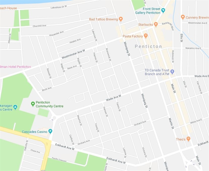 RCMP are asking the public to stay out of the area bordered by Eckhardt Avenue and Lakeshore Drive, and Main Street and Power Street.