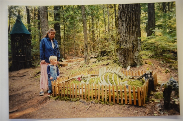 Rhonda Briggs and her nephew Anders Poppleton at the skeleton graveyard.