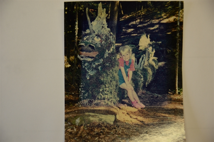 Lyn Briggs' daughter Hannah sits on the Ogopogo at the Mystic Trail 1992.