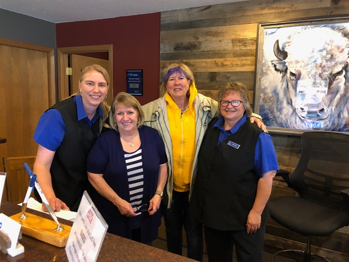 Left to right: Graham's Best Western employees Jennifer Schoon, General Manager Nadine Hathaway, Bonnie and Valerie Feddersen, share a few laughs in Murdo, South Dakota.