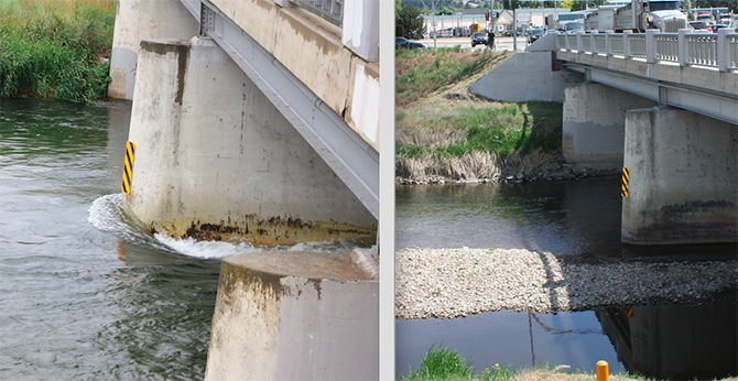 The Okanagan River Channel spring freshet, at left, June 27, 2017, and this year, May 24, 2019.