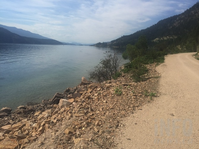 A stretch of the Okanagan Rail Trail along Kalamalka Lake.