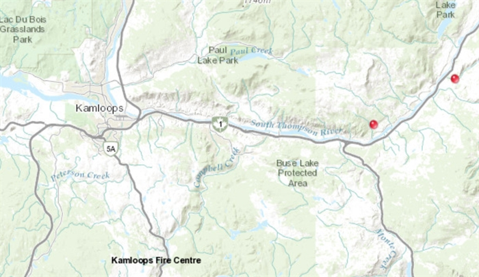 Two wildfires have ignited east of Kamloops.