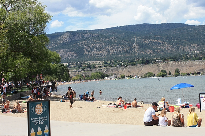 Those looking for some sun and sand found some space at Okanagan Lake Beach yesterday, July 1, 2019.