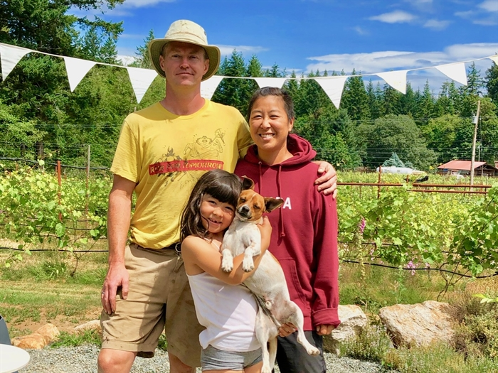 Southend Winery owners Jill Ogasawara and Ben McGuffie with their adorable daughter and adorable rescue dog Truman (look at his smile!)