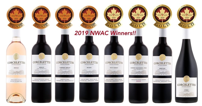 Corcelettes Estate Winery lineup of winning wines