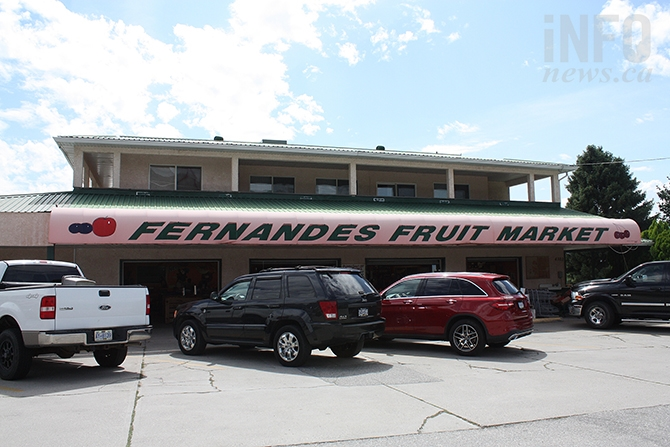 "Fernandes Fruit Stand in Osoyoos today. The fruit stand became famous in the mid-1980s for its ""Fernandes Banana Jungle,"" a large greenhouse where around 100 banana trees were cultivated."