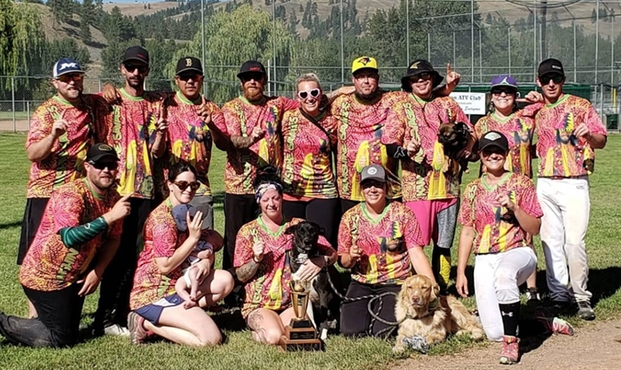The Kamloops Kamshine Savages say their name was inspired by WWE star Macho Man Randy Savage. The team is seen here displaying their jerseys that have a photo of the wrestler on the front.