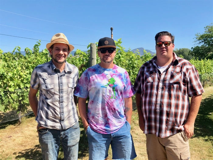 Garagistes came from all over the Okanagan - (l-r) Jamie Smith from Marionette Winery Salmon Arm, Anthony Buchanan from Anthony Buchanan Wines Penticton, Kyle Lyons from Tall Tale Wines Oliver