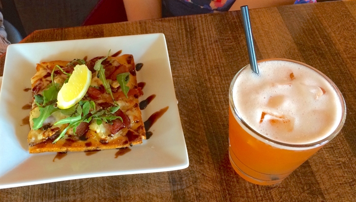 The Train Station pub is a favourite stop for their Okanagan Flatbread and Okanagan Iced Tea