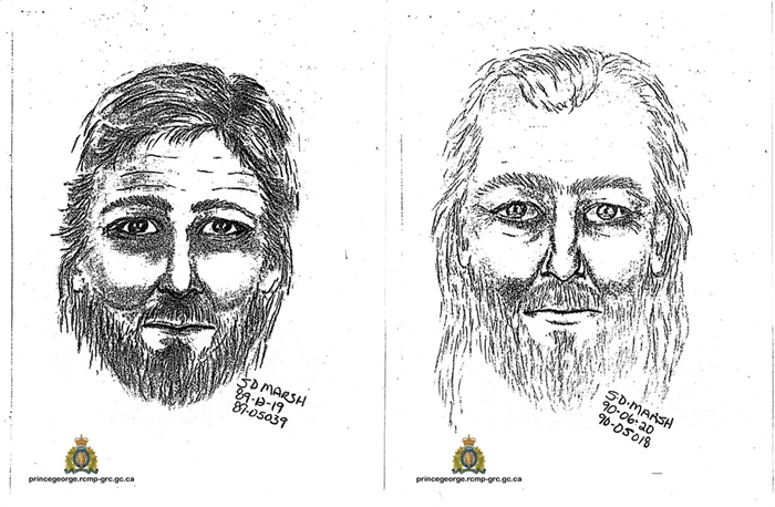 Sketches of the suspect as described by witnesses in 1989 and 1990.