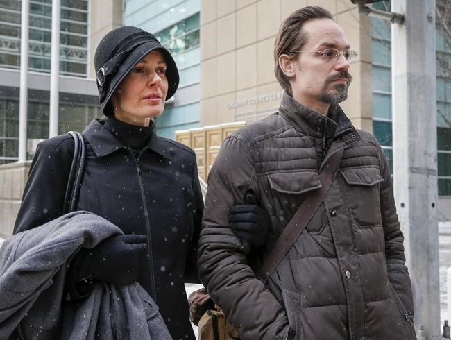 Jennifer and Jeromie Clark, leave a sentencing hearing after to couple were found guilty of criminal negligence causing the death of their 14-month-old son in 2013, outside the courts centre in Calgary, Friday, Feb. 8, 2019.
